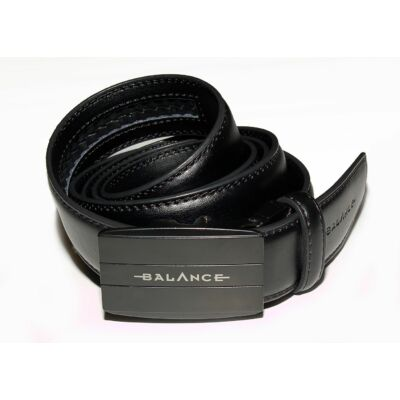 Balance varrott bőrszíjas, fekete telecsatos racsnis öv, derékszíj