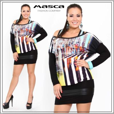 Masca Fashion kétrétegű, csónaknyakú, denevérujjú, színes mintás tunika, miniruha