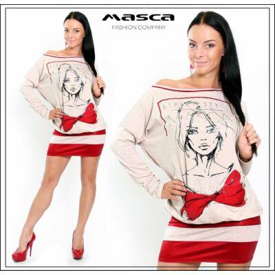 Masca Fashion bézs melange, nyomott elejű, denevérujjú bő tunika, miniruha piros díszítéssel