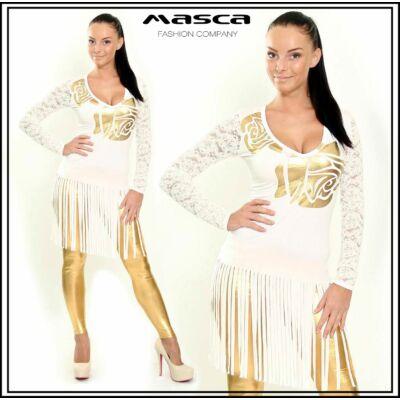 Masca Fashion csipke ujjú, arany nyomatos, rojtos aljú fehér felső, tunika