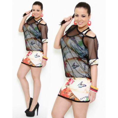 Masca Fashion két rétegű pillangós tunika, miniruha, hálós felsőrésszel - Mf520-4