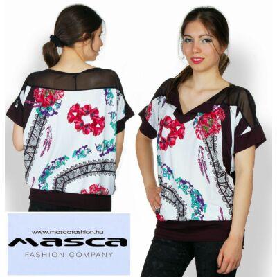 Masca Fashion rugalmas muszlin betétes virág- és csipkemintás bő felső, tunika - Mf544-99