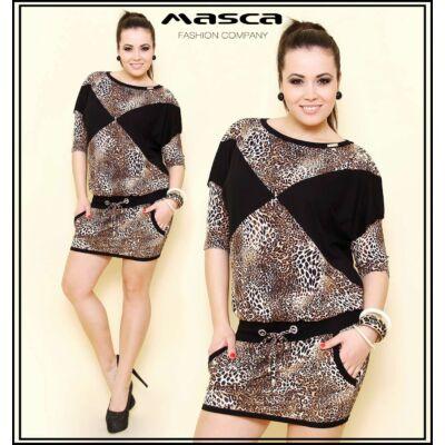 Masca Fashion denevérujjú, párducmintás tunika, miniruha, fekete betétekkel, zsebekkel