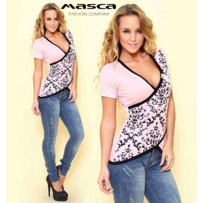 Masca Fashion átlapolt rózsaszín felső, nyomott fekete mintával és szegőkkel