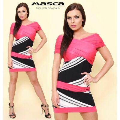 Masca Fashion vállra húzós, ráncoltan átlapolt mellrészű, csíkbetétes pink miniruha