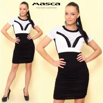 Masca Fashion fehér csipkebetétes fekete miniruha, húzott szoknyarésszel