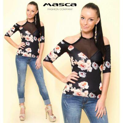 Masca Fashion muszlin betétes, nyitott vállú, nyakba kötős, virágmintás fekete felső