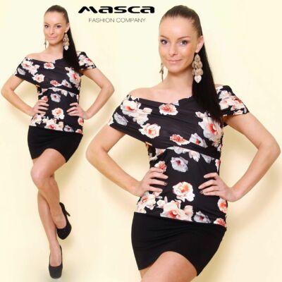 Masca Fashion vállra húzós, átlapolt, ráncolt mellrészű, virágmintás fekete miniruha