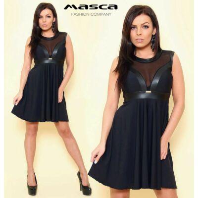 Masca Fashion muszlin és műbőr betétes ujjatlan, loknis miniruha, fekete