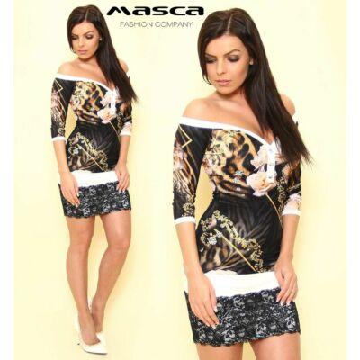 Masca Fashion ékszerpatentos, vállra húzható, állat és növénymintás miniruha, csipkeszegéllyel