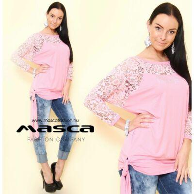 Masca Fashion csipke denevérujjú, bő szabású rózsaszín felső, csípőjén kötővel