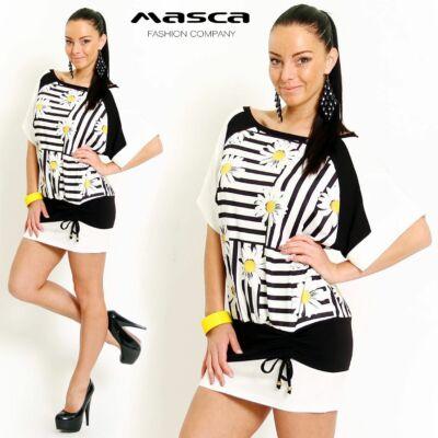 Masca Fashion bő raglán ujjú, csíkos-margarétás lezser tunika, miniruha, csípőjén kötővel