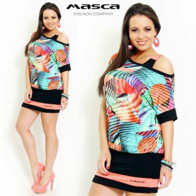 Masca Fashion kétrétegű, színes geometriai mintás bő tunika, miniruha