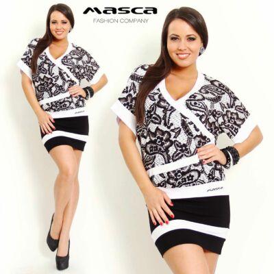 Masca Fashion V nyakú, T ujjú, csipkemintás fekete-fehér tunika, miniruha
