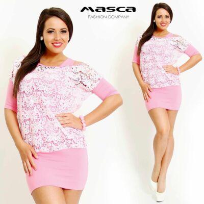 Masca Fashion kétrétegű, trikópántos, rózsaszín miniruha, denevérujjú, csónaknyakú, csipke felsővel