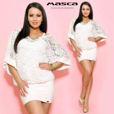 Masca Fashion kétrétegű, spagettipántos törtfehér miniruha, japánujjú csipke felsőrésszel