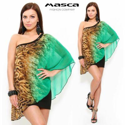 Masca Fashion kétrétegű aszimmetrikus miniruha, bő, színátmenetes mintás muszlin felső réteggel