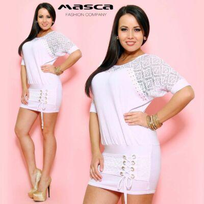 Masca Fashion csipkés raglán ujjú fehér tunika, miniruha, ékszerkarikás fűzős rátéttel