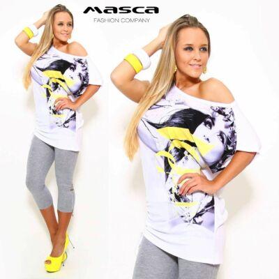 Masca Fashion vállra húzható csónaknyakú bő felső, tunika, női arc mintával, sárga felirattal