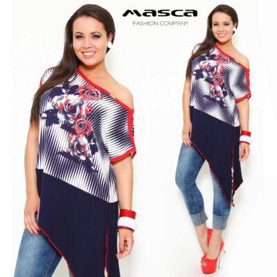Masca Fashion megköthető ferde aljú, csónaknyakú bő felső kék-piros-fehér színben, rózsamintával