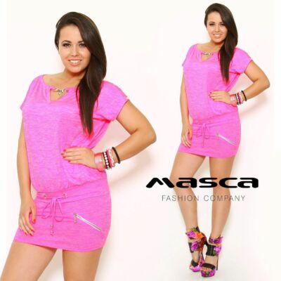 Masca Fashion ékszerkapcsos kivágott dekoltázsú pink melange tunika, miniruha, csípőjén megkötővel