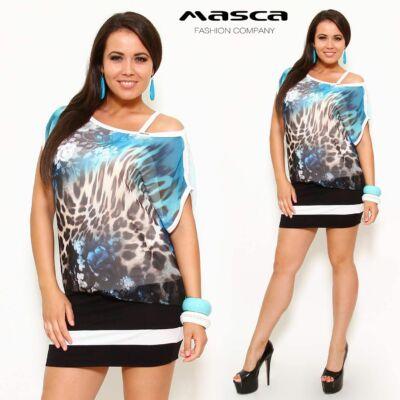 Masca Fashion kétrétegű, spagettipántos miniruha, csónaknyakú, színátmenetes állat és virágmintás muszlin felső réteggel