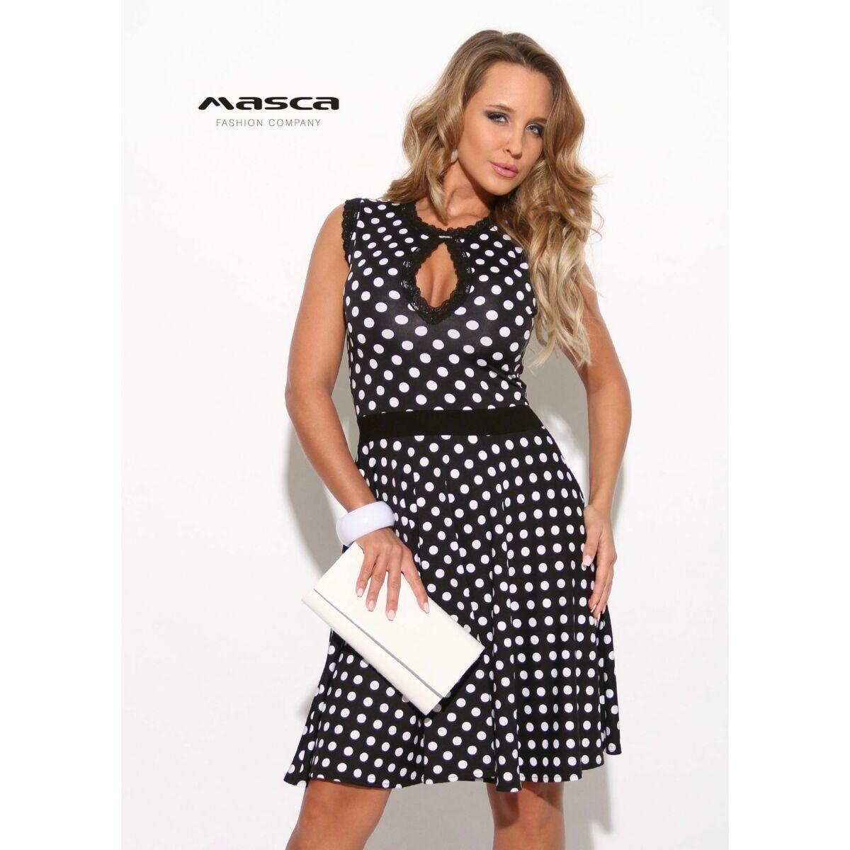 d554160300 Masca Fashion csepp-kivágott fekete-fehér pöttyös loknis alkalmi miniruha