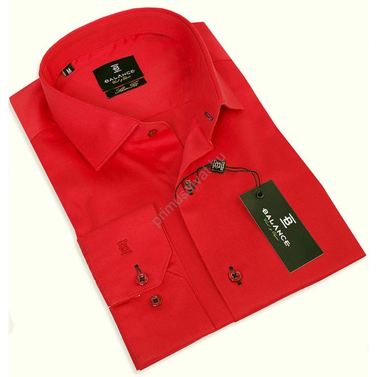 b3c3803e94 Balance normál galléros, slim fit, egyszínű piros pamutszatén hosszú ujjú  ing
