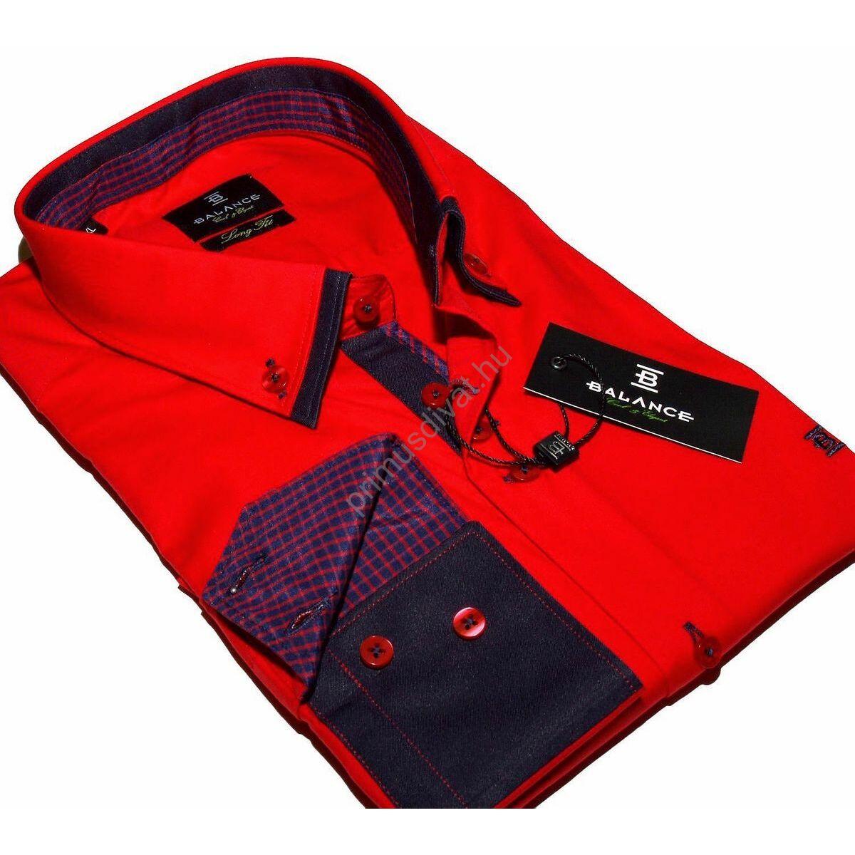 4bc4f626e6 Kép 1/4 - Balance dupla, legombolt galléros rugalmas, karcsúsított hosszú  ujjú ing, piros-kék