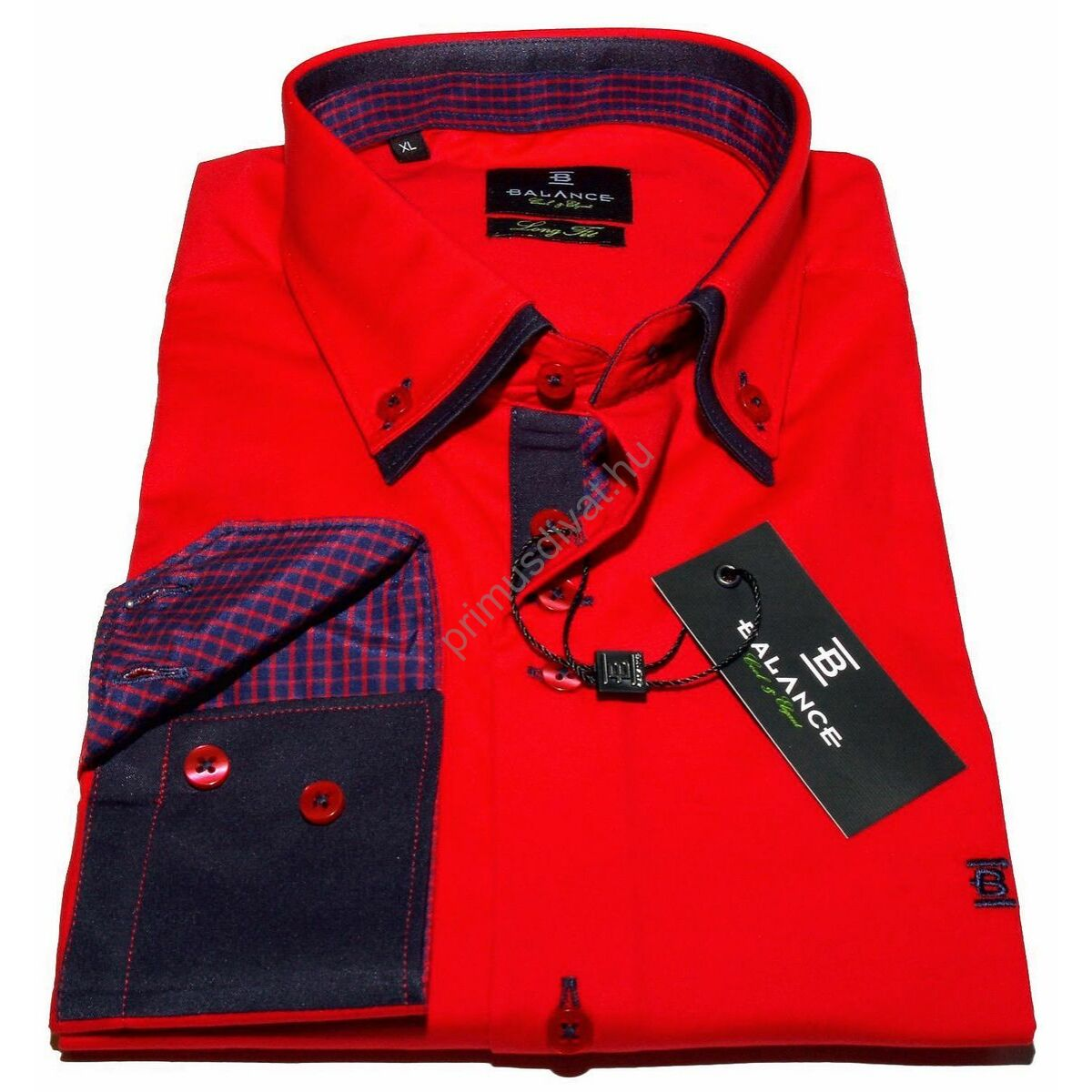 5ff21c14dd Balance dupla, legombolt galléros rugalmas, karcsúsított hosszú ujjú ing,  piros-kék