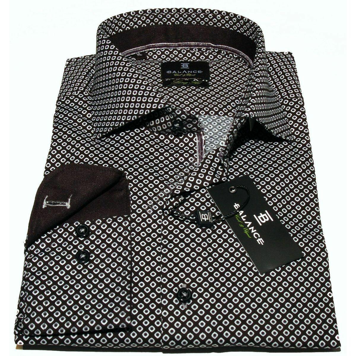 a9b048358159 Balance cápanyakú hosszított fazonú rugalmas, karcsúsított hosszú ujjú ing,  apró mintás fekete