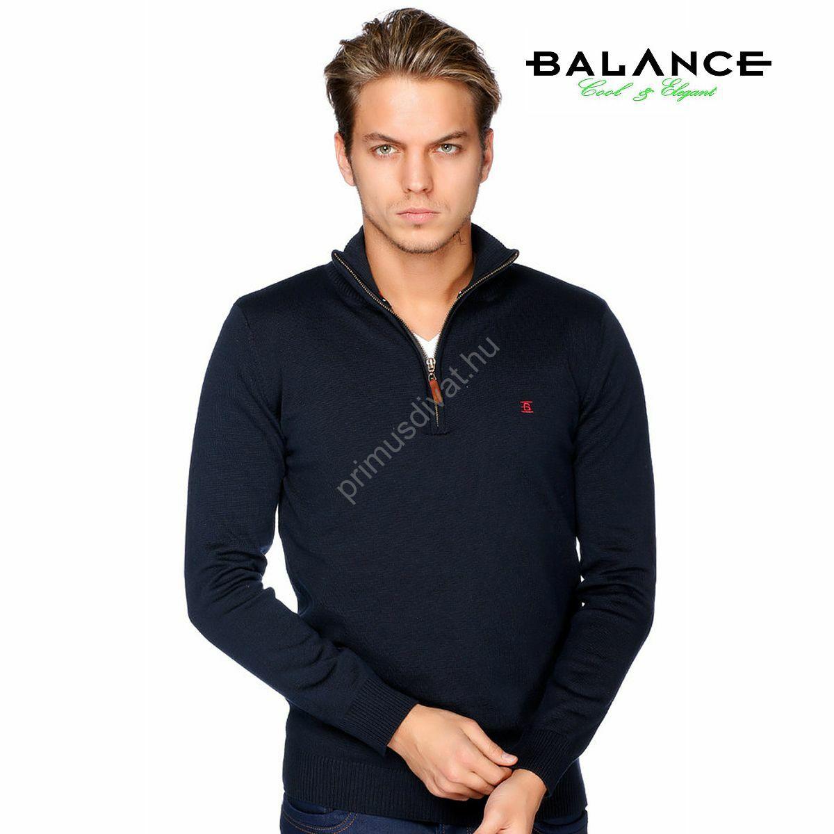 afb5ba3506 Kép 1/2 - Balance cipzáras nyakú vékony kötött pamut pulóver, sötétkék