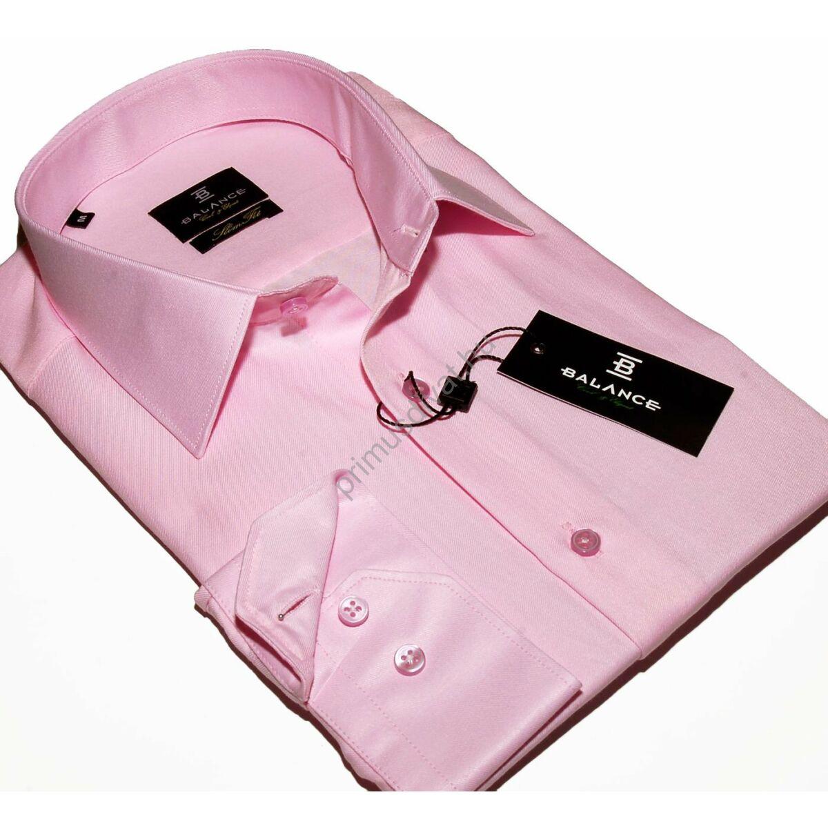 3cad66f088 Kép 1/4 - Balance normál galléros, egyszínű rózsaszín pamutszatén, slim-fit  hosszú ujjú ing