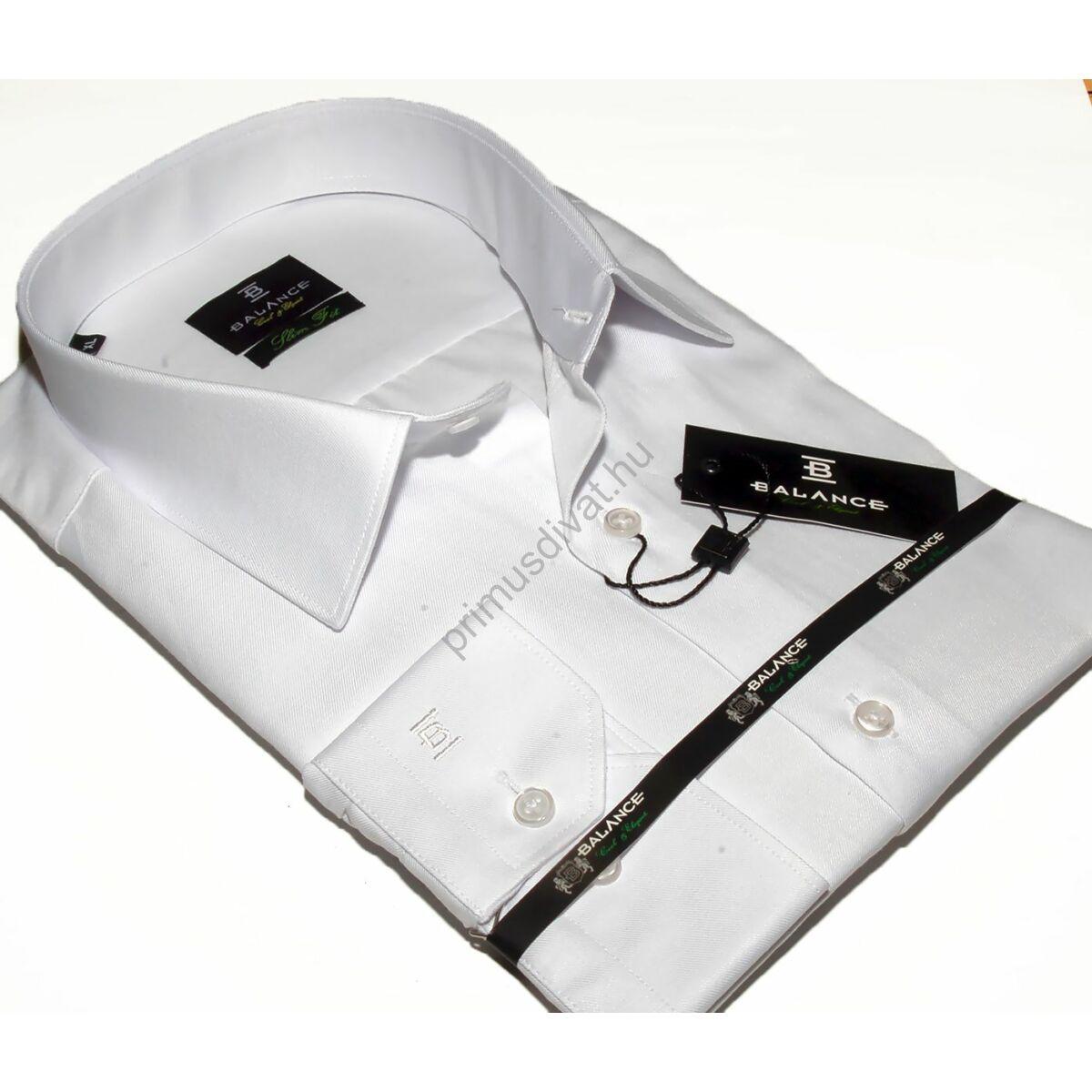f8f46393a7 Kép 1/1 - Balance normál galléros, egyszínű fehér pamutszatén, slim-fit  hosszú ujjú ing