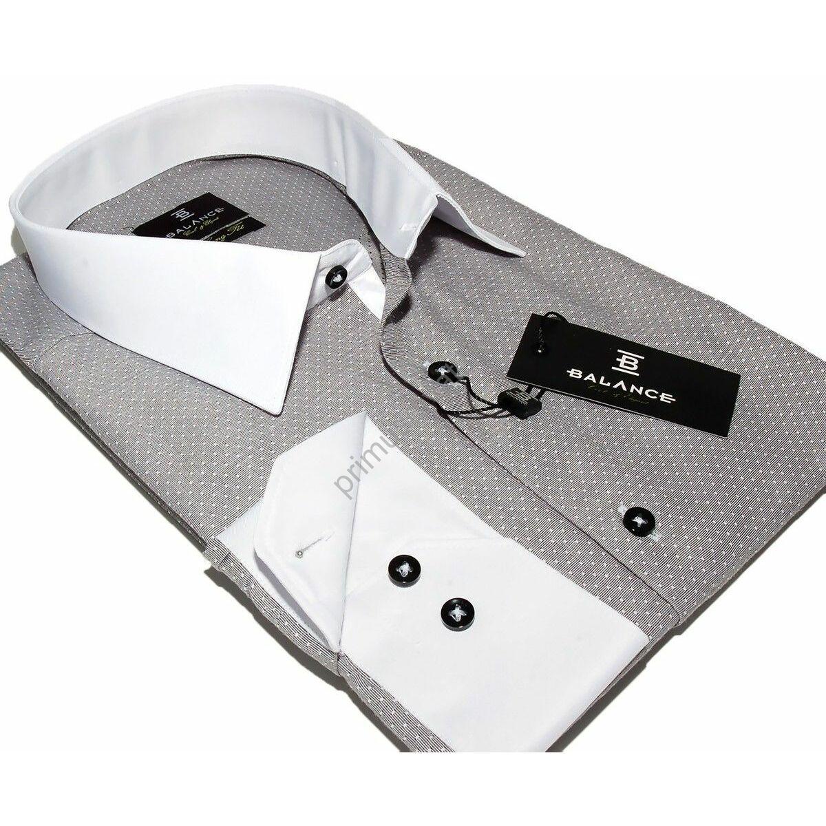 3a11c5cd0d Kép 1/4 - Balance fehér galléros, szövött apró mintás szürke hosszú ujjú,  karcsúsított, hosszított fazonú ing