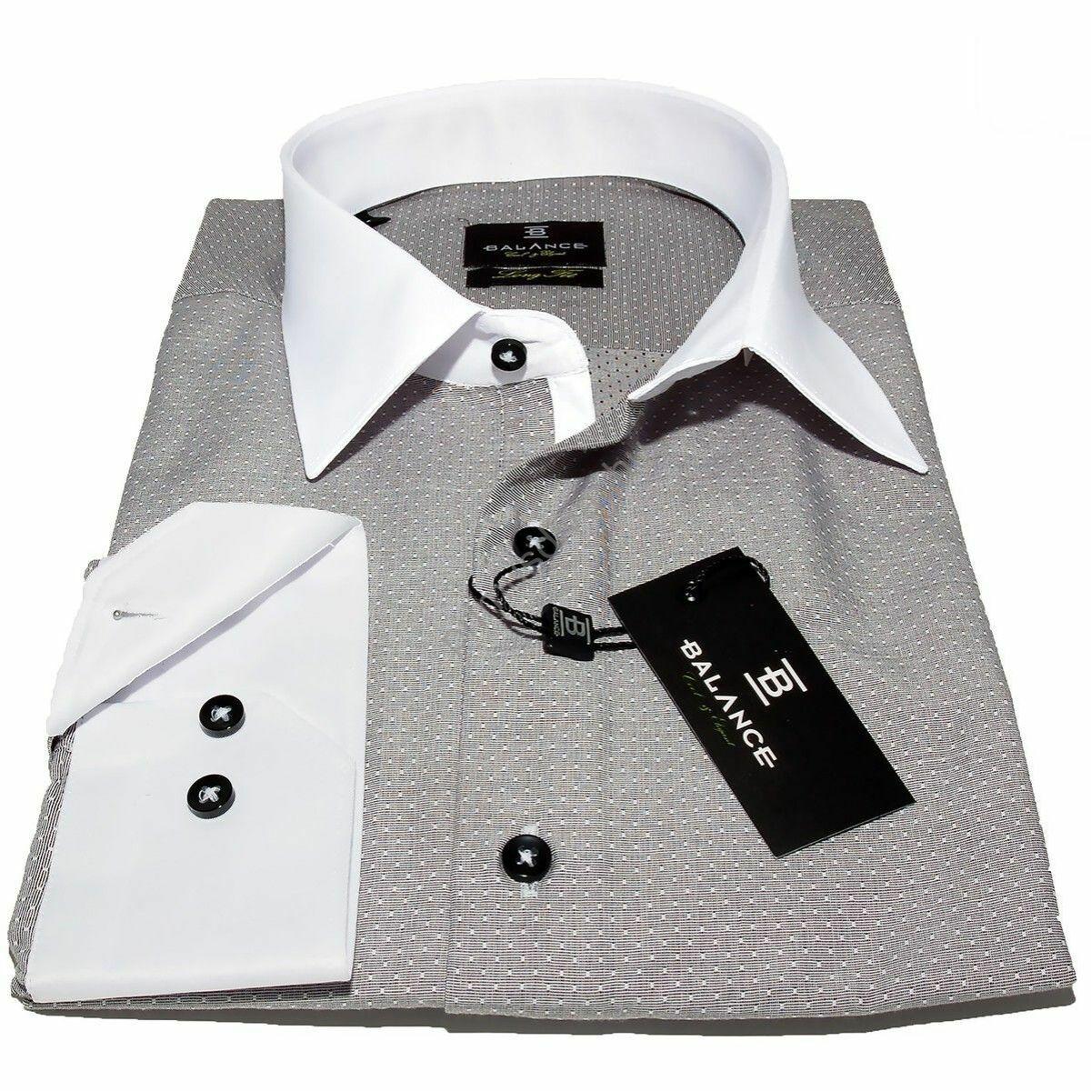 a420ecc492 Balance fehér galléros, szövött apró mintás szürke hosszú ujjú,  karcsúsított, hosszított fazonú ing