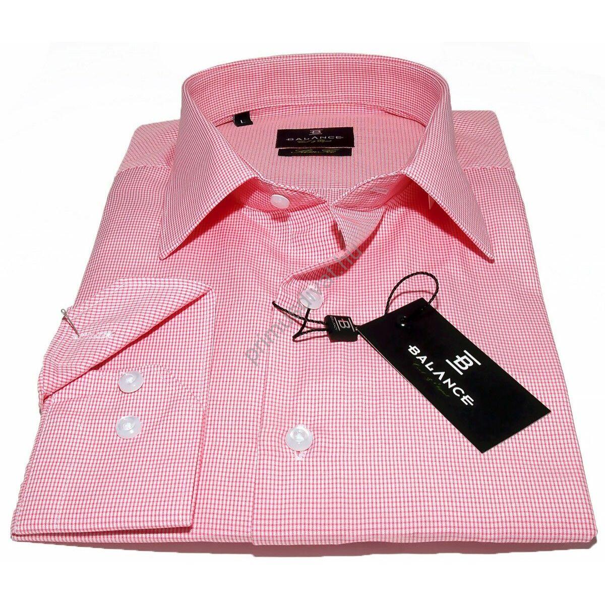 3e8bc4336f Balance szövött apró rózsaszín kockás, normál galléros, hosszú ujjú  karcsúsított slim fit ing