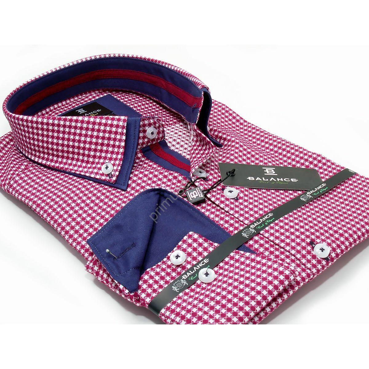 712ea38313 Kép 1/7 - Balance piros-fehér kockás hosszú ujjú, karcsúsított long fit  ing, dupla, legombolt gallérral