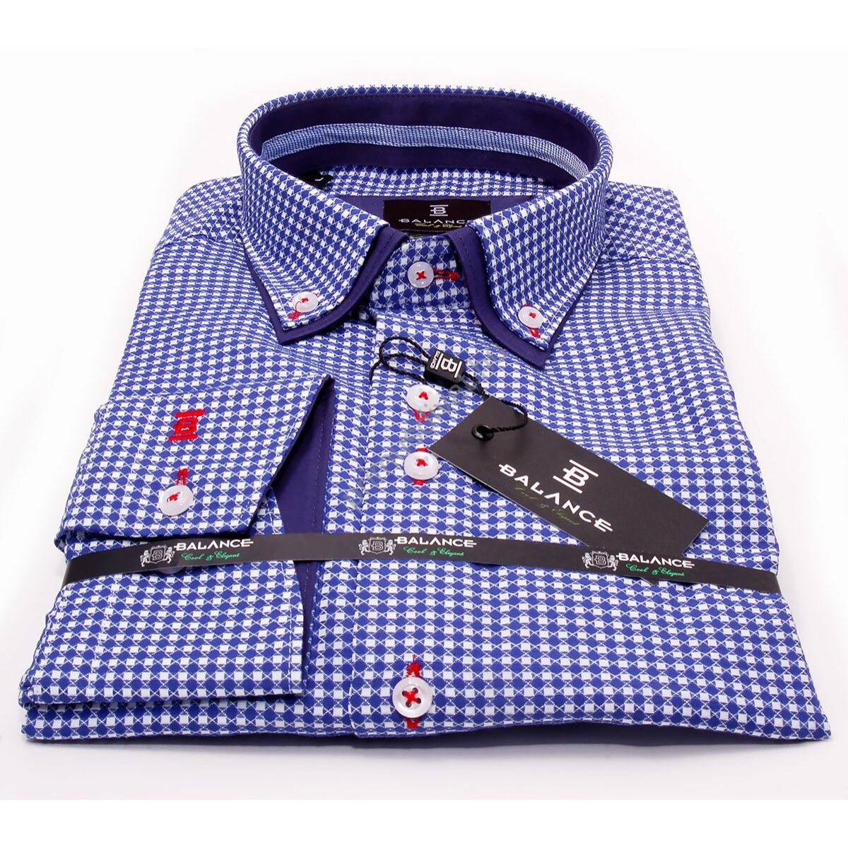 1724a4978f Balance kék-fehér kockás hosszú ujjú, karcsúsított long fit ing, dupla,  legombolt