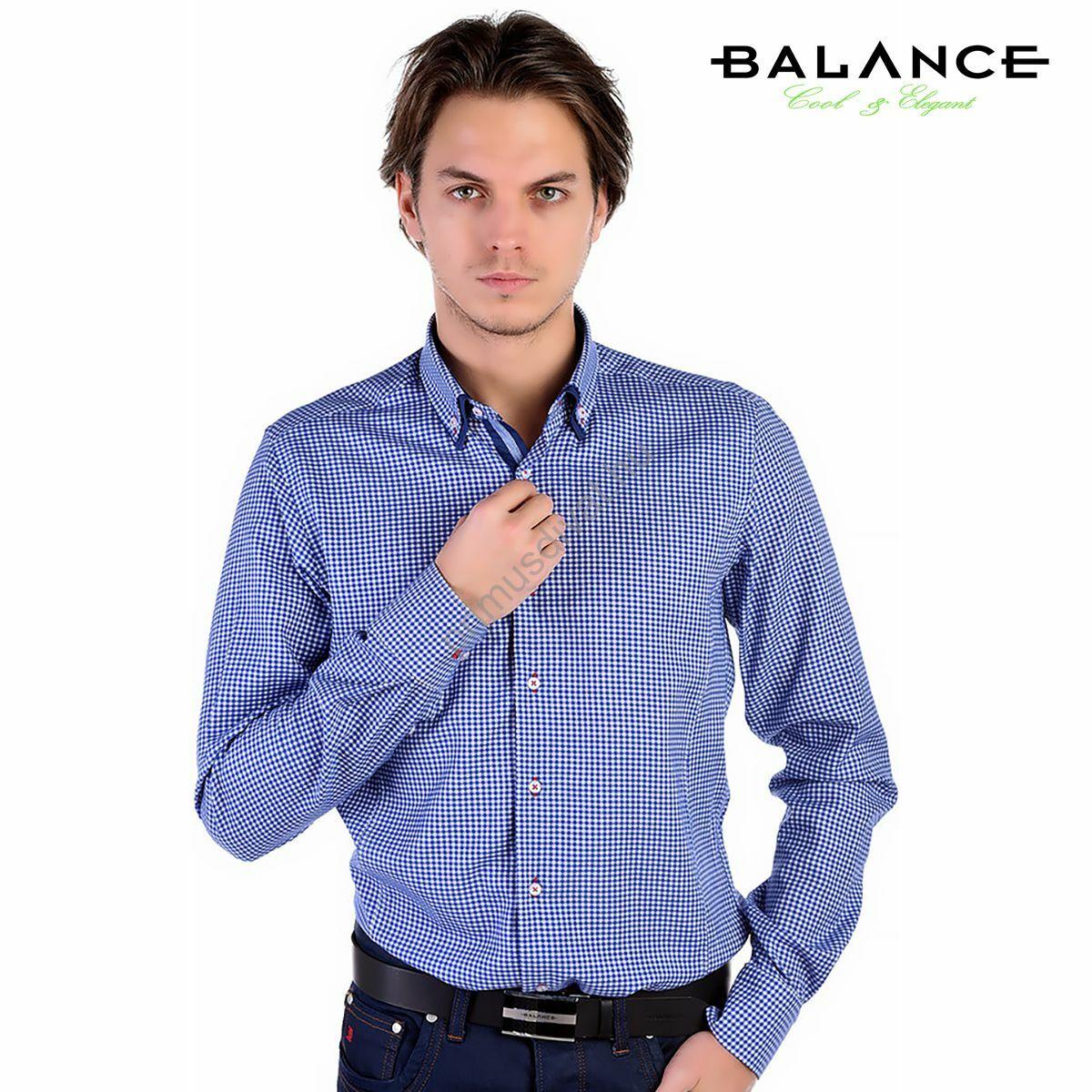 9252ac96f7 Balance kék-fehér kockás hosszú ujjú, karcsúsított long fit ing, dupla,  legombolt