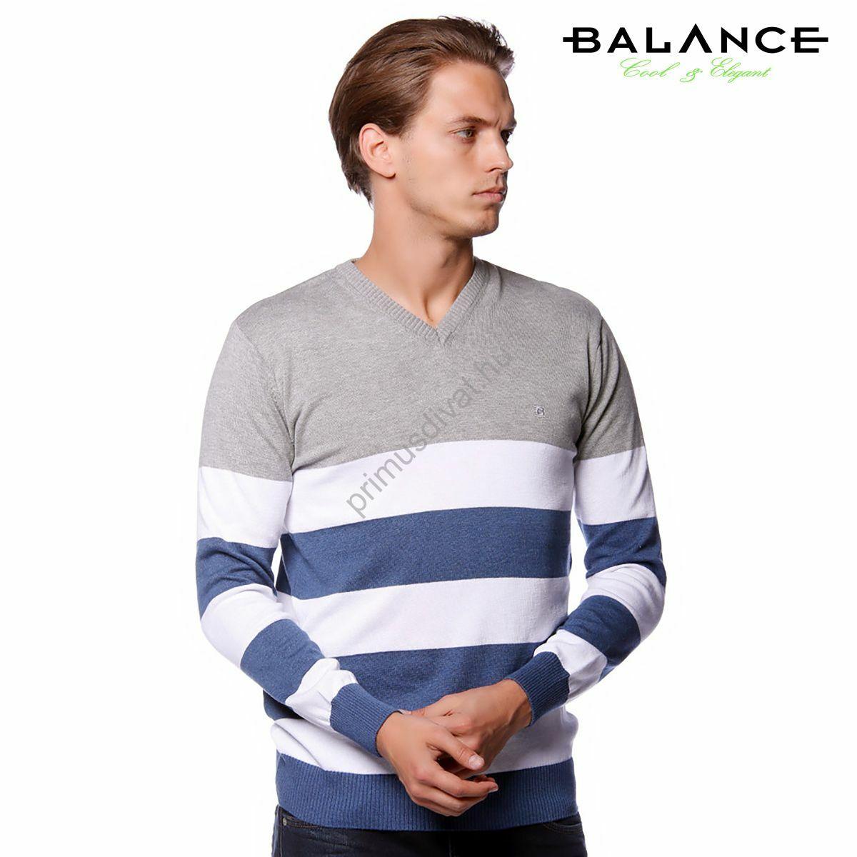 Balance V-nyakú, szürke-fehér-kék csíkos vékony kötött pamut pulóver