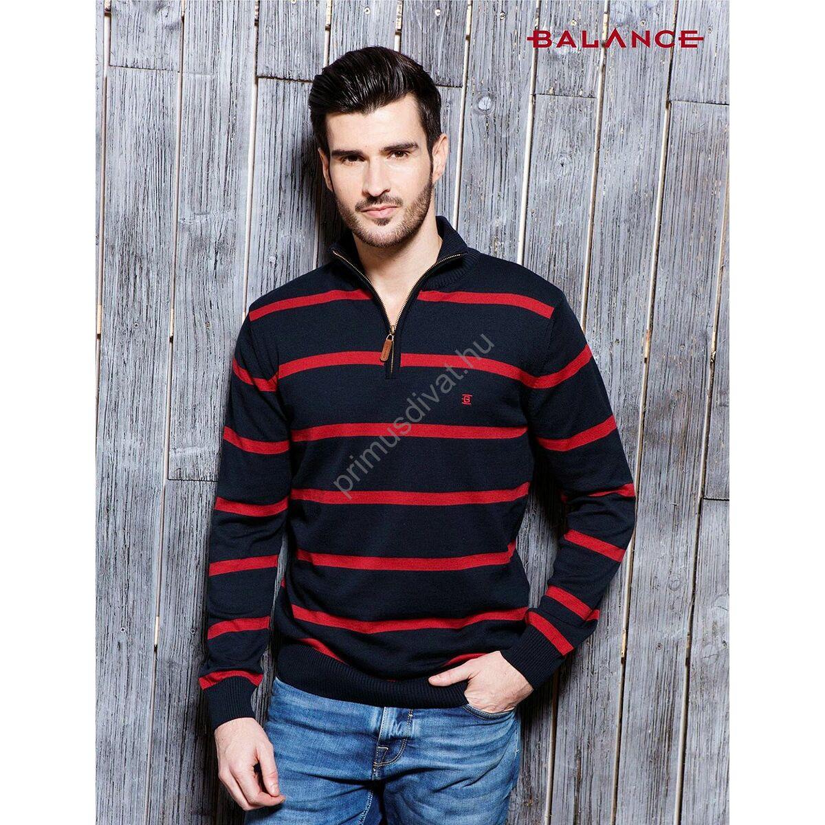 1364fb3019 Kép 1/3 - Balance cipzáras nyakú, kék-piros csíkos vékony kötött pamut  pulóver