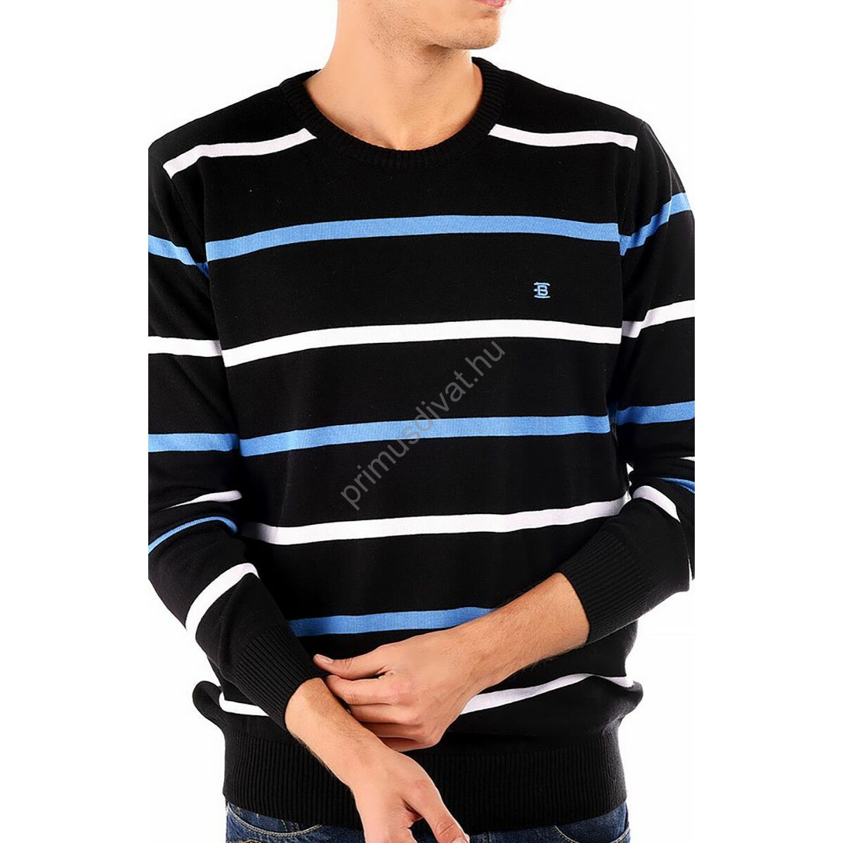 e111cf7a93 Balance környakas, kék-fehér csíkos fekete vékony kötött pamut pulóver