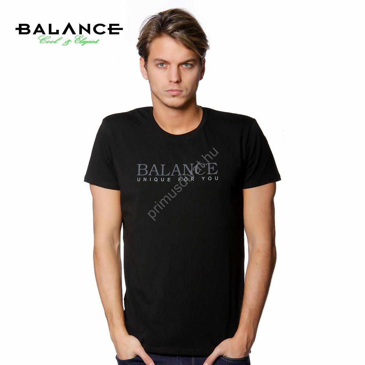 397613bff0 Kép 1/1 - Balance rugalmas, környakas rövid ujjú póló, mellén  márkafelirattal, fekete