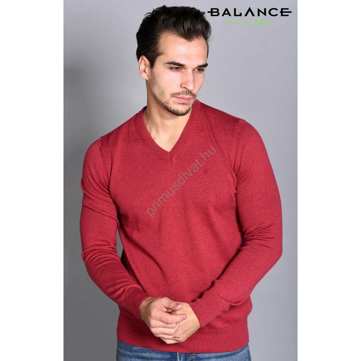 6cdbc6a930 Kép 1/1 - Balance vékony kötött V-nyakú pamut pulóver, piros-melange