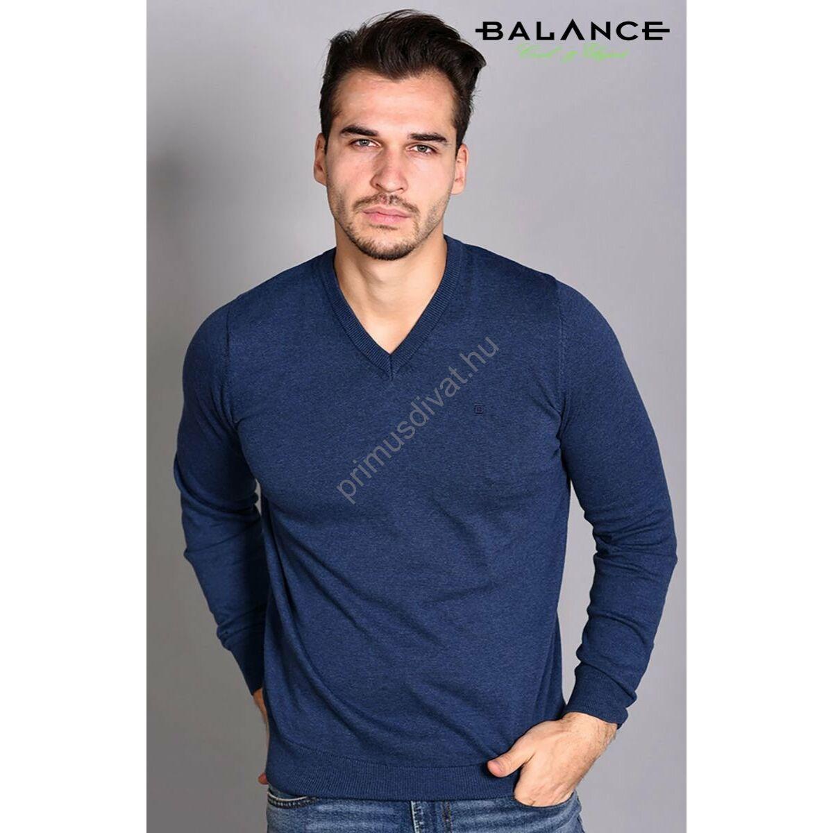 8f550c043a Kép 1/1 - Balance vékony kötött V-nyakú pamut pulóver, sötétkék-melange