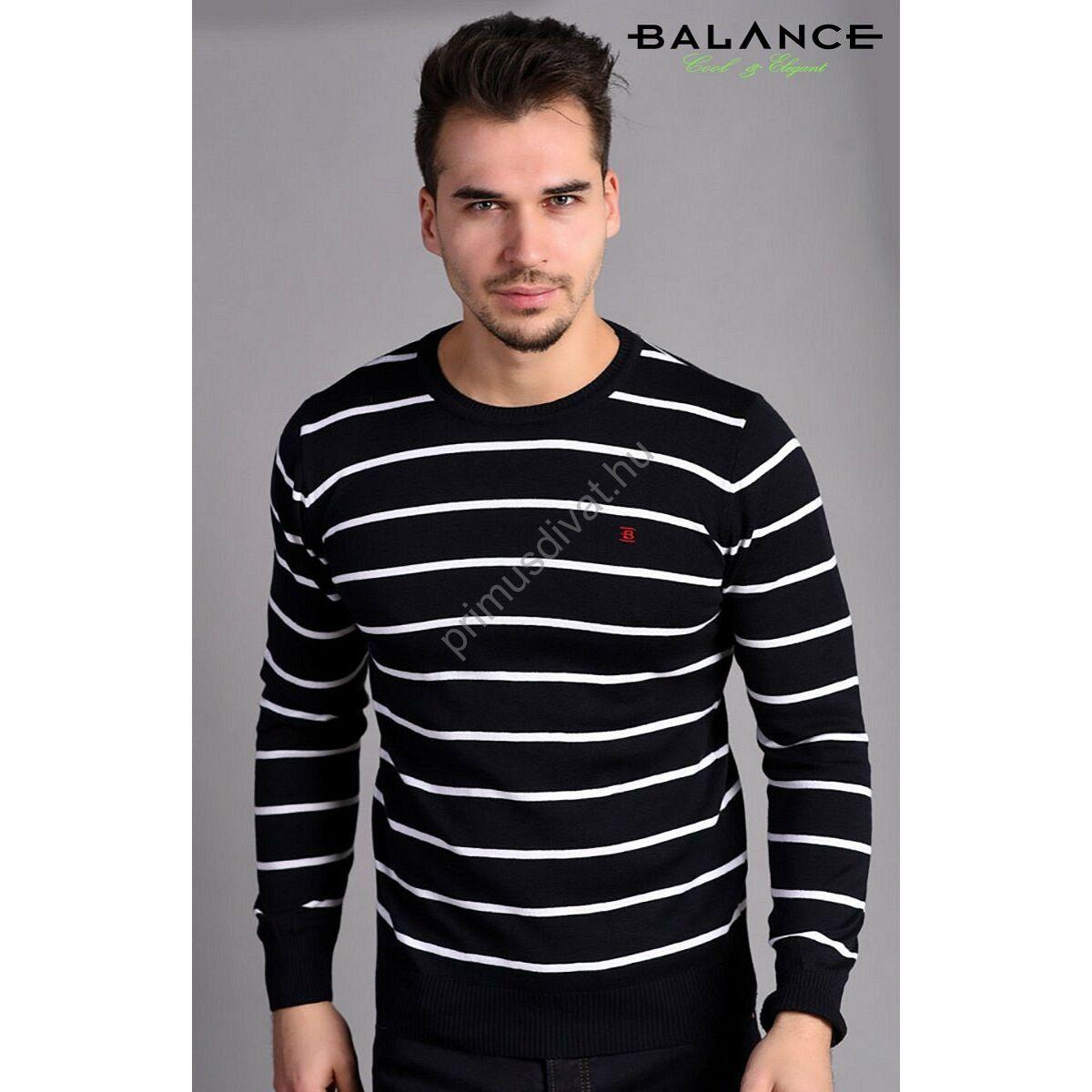 f109125d37 Kép 1/2 - Balance környakas fehér csíkos sötétkék vékony kötött pamut  pulóver