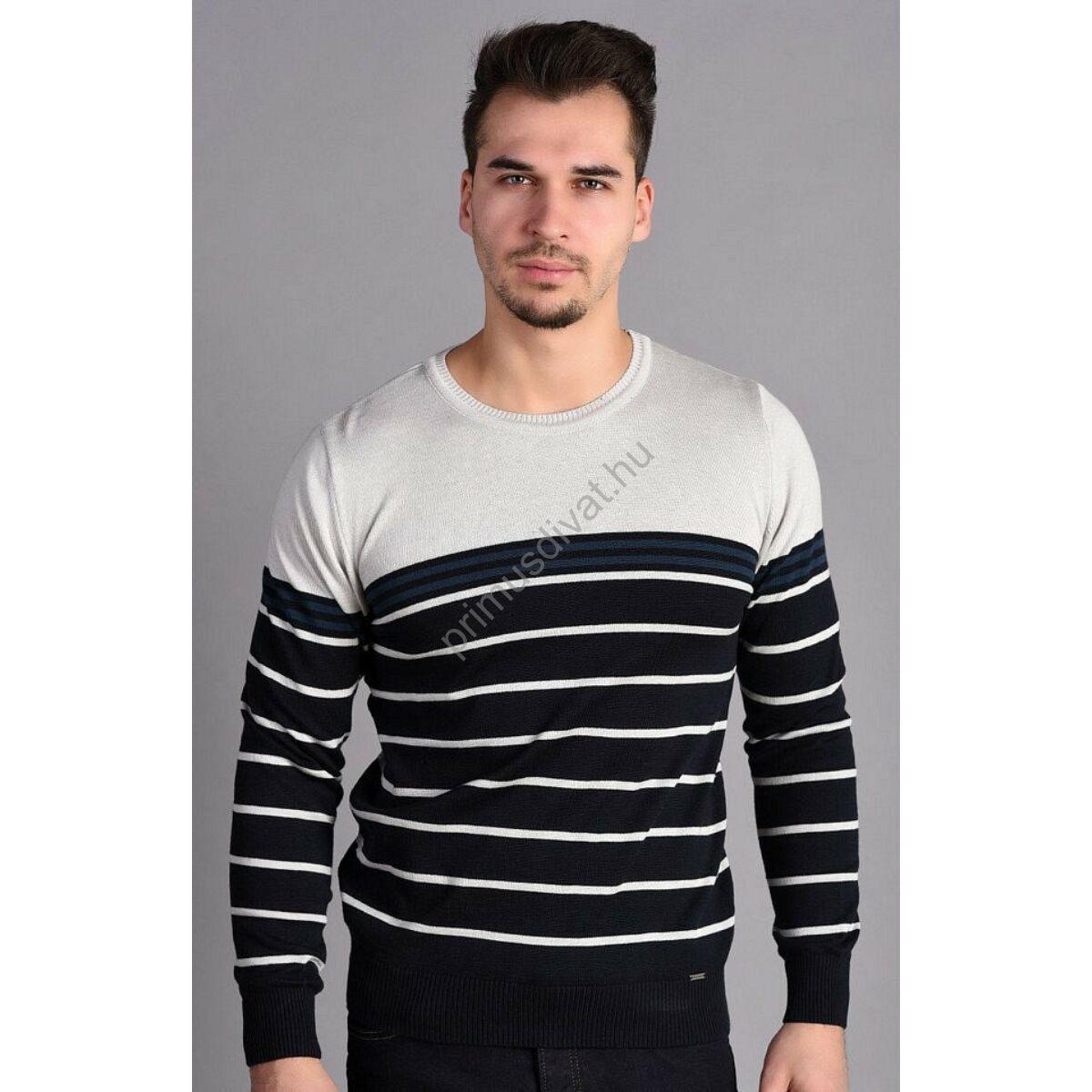 6d360b48b7 Kép 1/2 - Balance környakas világosszürke betétes csíkos sötétkék vékony  kötött pamut pulóver