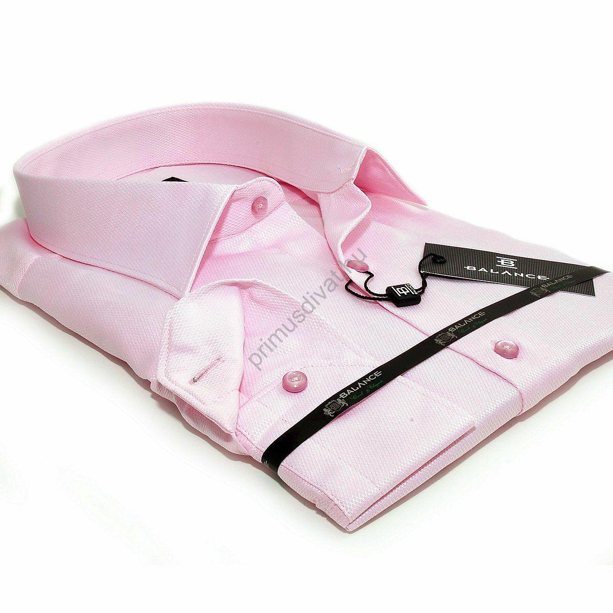 20b8aa6738 Kép 1/2 - Balance anyagában szövött mintás rózsaszín karcsúsított hosszú  ujjú alkalmi ing