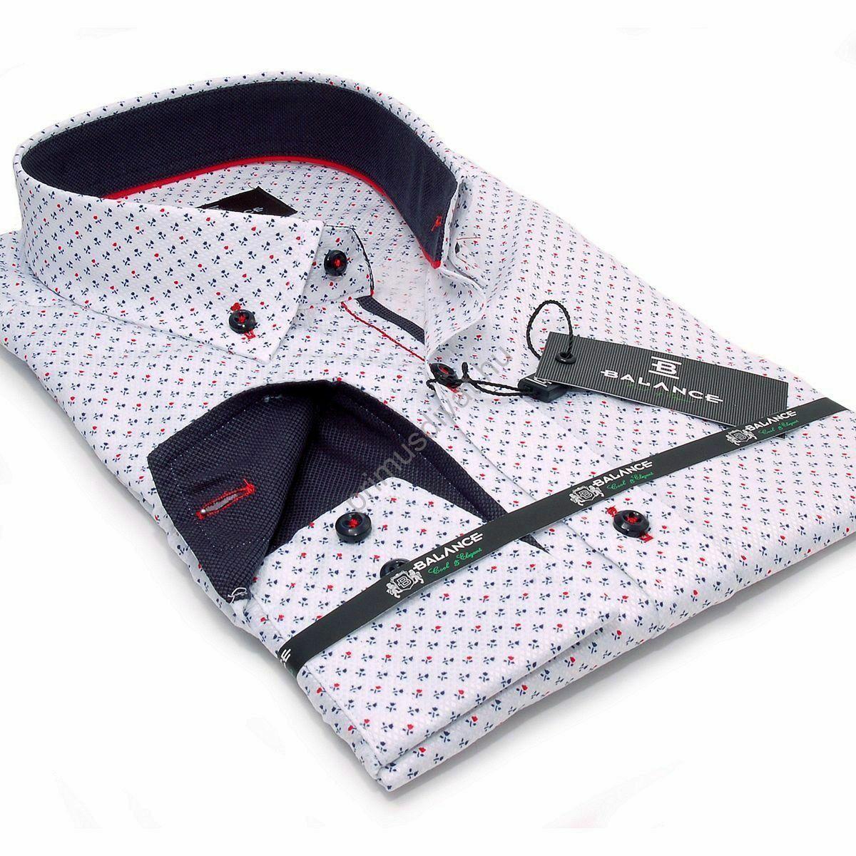 c08c488641 Kép 1/2 - Balance legombolt galléros hosszú ujjú slim fit ing, fehér alapon  apró kék-piros mintával
